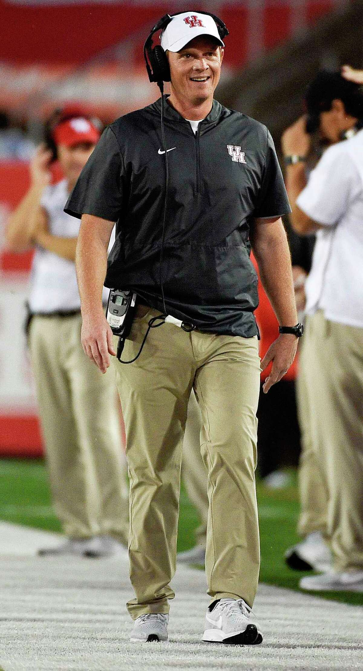 Houston head coach Major Applewhite walks the sidelines during the first half of an NCAA college football game against Texas Southern, Saturday, Sept. 22, 2018, in Houston.
