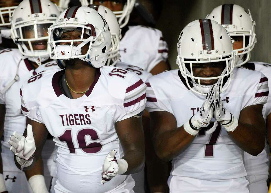 Texas Southern's Terio Brown, left, and Brad Woodard prepare to take the field to face Houston before an NCAA college football game, Saturday, Sept. 22, 2018, in Houston. Photo: Eric Christian Smith, Contributor