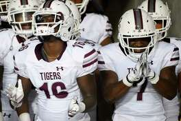 Texas Southern's Terio Brown, left, and Brad Woodard prepare to take the field to face Houston before an NCAA college football game, Saturday, Sept. 22, 2018, in Houston.