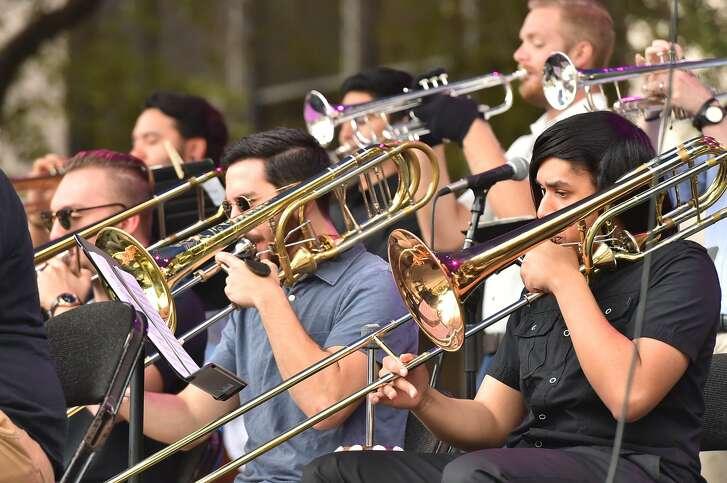 The UTSA Jazz Ensemble performs during Jazz SA Alive Saturday in Travis Park.