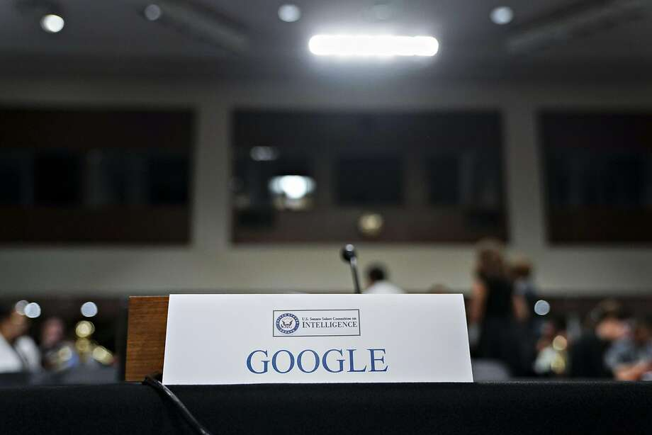 A Google placard sits on the witness table before a Senate Intelligence Committee hearing in Washington this month. Photo: Andrew Harrer / Bloomberg