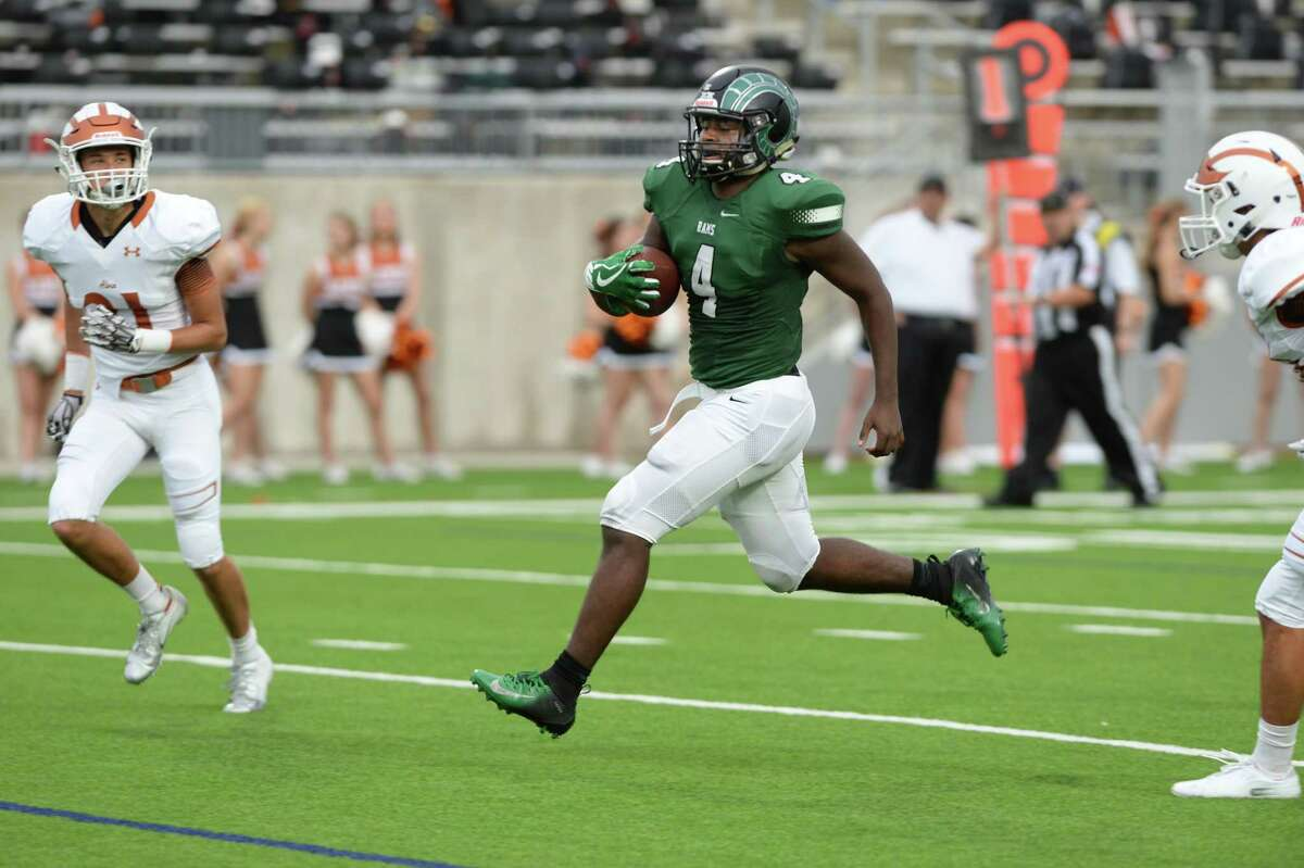 Trevion Goins (4) of Mayde Creek scores a touchdown in the second quarter of a high school football game between the Mayde Creek Rams and the Alvin Yellowjackets on Saturday, September 22, 2018 at Legacy Stadium, Katy, TX.