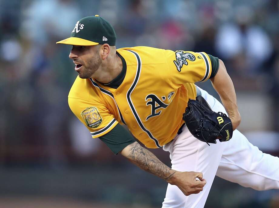 Oakland Athletics pitcher Mike Fiers works against the Minnesota Twins in the first inning of a baseball game Saturday, Sept. 22, 2018, in Oakland, Calif. (AP Photo/Ben Margot) Photo: Ben Margot, Associated Press