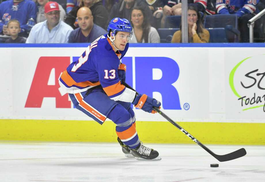 Mathew Barzal (13) of the New York Islanders looks to pass during a pre-season game against the New York Rangers on September 22, 2018 at Webster Bank Arena in Bridgeport, Connecticut. Photo: Gregory Vasil / For Hearst Connecticut Media / Connecticut Post Freelance