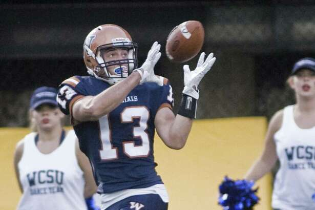 WestConn Colonials Austin Calamita making a reception in a game against the Worcester Lancers, played at WestConn. Saturday, Oct. 7, 2017