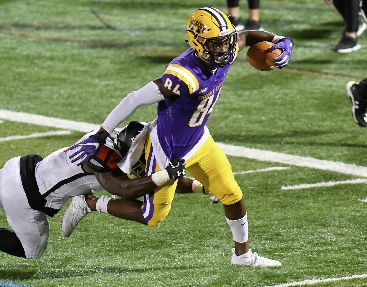 University at Albany wide receiver Jerah Reeves (84) runs with the ball against St. Francis during the first half of an NCAA college football game Saturday, Sept. 22, 2018, in Albany, N.Y.
