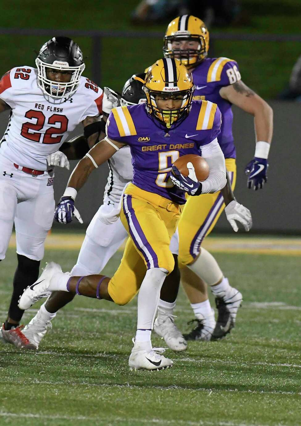 University at Albany wide receiver Dev Holmes (5) runs with the ball against St. Francis during the first half of an NCAA college football game Saturday, Sept. 22, 2018, in Albany, N.Y.