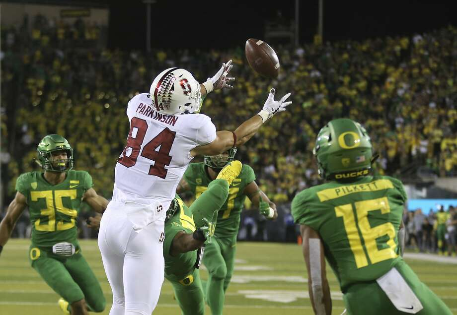 Stanford's Colby Parkinson pulls in a touchdown pass to beat Oregon in overtime in Eugene, Ore. Photo: Chris Pietsch / Associated Press