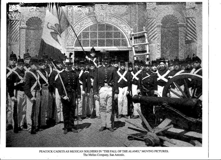 """In this undated photo, these cadets from Peacock Military Academy are wearing school uniforms accessorized to portray the Mexican Army when they were extras in """"The Fall of the Alamo,"""" an Alamo battle film made in 1910 and released in 1911. Promotional material and press reports about the movie from that time are still around, but no copy of the film itself is known to exist."""