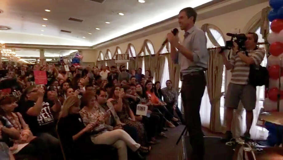 This screen capture shows Rep. Beto O'Rourke addressing supporters at La Posada Hotel on Saturday. Photo: Courtesy