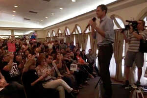 This screen capture shows Rep. Beto O'Rourke addressing supporters at La Posada Hotel on Saturday.