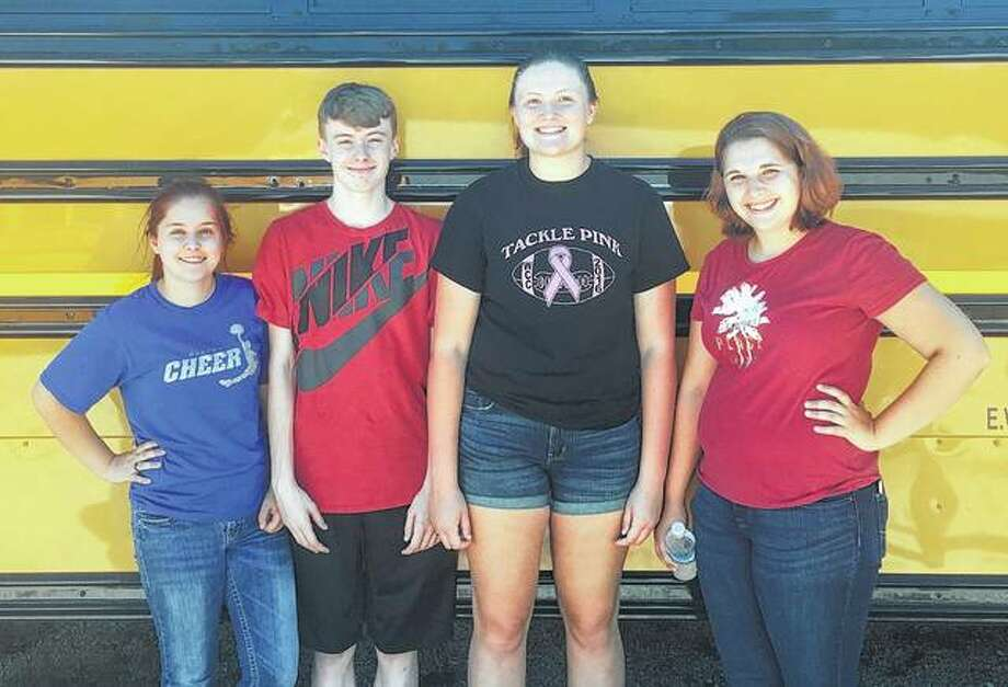 Bluffs FFA varsity team members include Caitlin Moore (from left), Ethan Buhlig, Morgan Hoots and Tori Preston. Photo: Photos Provided