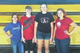 Bluffs FFA varsity team members include Caitlin Moore (from left), Ethan Buhlig, Morgan Hoots and Tori Preston.