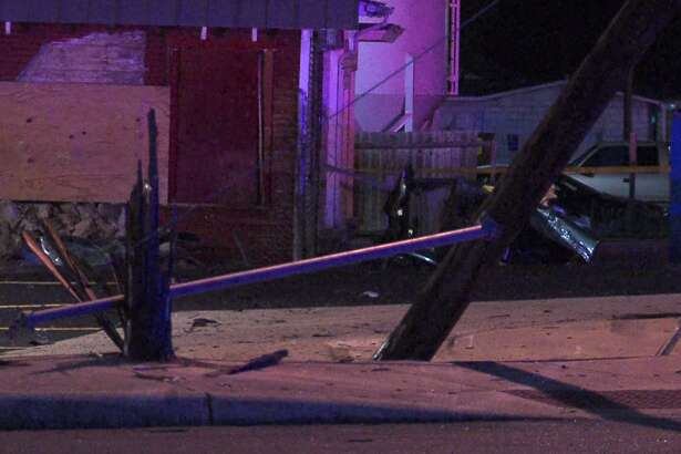 The vehicle slammed into an electrical pole causing it to snap in two.