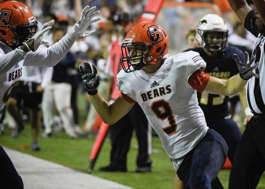 Bridgeland tight end Travis Jones (9) celebrates his touchdown during the second half of a high school football game against Cy-Ranch, Friday, Sept. 21, 2018, in Cypress, TX. (Eric Christian Smith/Contributor) Photo: Eric Christian Smith, Contributor / Contributor