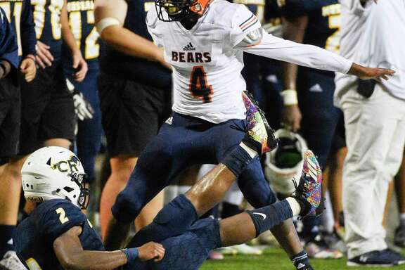 Bridgeland defensive back Bryce McMorris (4) reacts after breaking up a pass intended for Cy-Ranch wide receiver CJ Hardy during the first half of a high school football game, Friday, Sept. 21, 2018, in Cypress, TX.