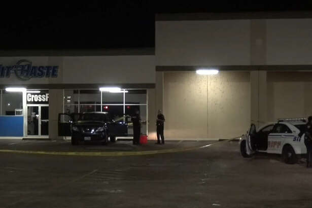 A man was found shot in the chest outside a Harris County strip mall.