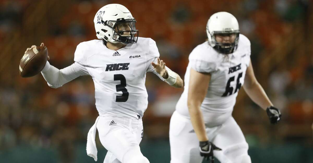 Rice quarterback Shawn Stankavage (3) makes a pass against Hawaii during the third quarter of an NCAA college football game Saturday, Sept. 8, 2018, in Honolulu. (AP Photo/Marco Garcia)