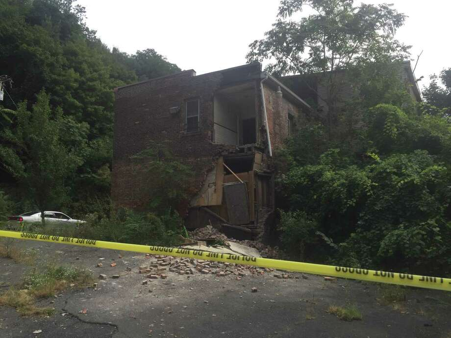 A wall collapsed at 757 Burden Ave. on Saturday.
