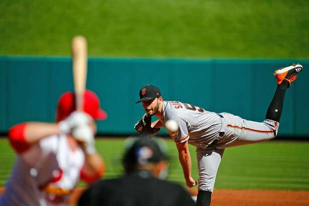 ST. LOUIS, MO - SEPTEMBER 23: Andrew Suarez #59 of the San Francisco Giants pitches against the St. Louis Cardinals in the second inning at Busch Stadium on September 23, 2018 in St. Louis, Missouri. (Photo by Dilip Vishwanat/Getty Images)