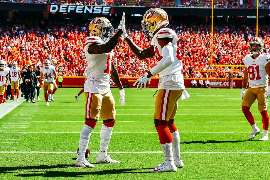 Marquise Goodwin # 11 San Francisco 49ers is playing with Kendrick Bourne in # 84 with the Kansas City Chiefs in the fourth line of Arrowhead Stadium (Kansas City, Missouri, September 23, 2018, Arrowhead Stadium 2016). & nbsp; Photo: Peter Aiken, Getty Images