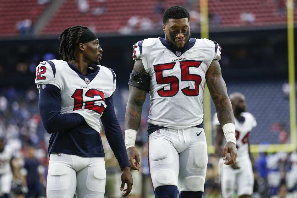 Houston Texans wide receiver Bruce Ellington (12) and linebacker Benardrick McKinney (55) walk off the field after the Houston Texans lost to the New York Giants 27-22 at NRG Stadium Sunday Sept. 23, 2018 in Houston.