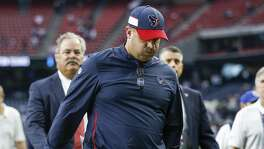 Houston Texans head coach Bill O'Brien walks off the field after the Houston Texans lost to the New York Giants 27-22 at NRG Stadium Sunday Sept. 23, 2018 in Houston.