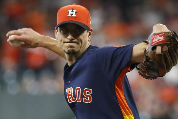 Houston Astros starting pitcher Charlie Morton (50) pitching during the first inning of an MLB baseball game at Minute Maid Park, Sunday, September 23, 2018, in Houston.