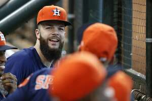Houston Astros Dallas Keuchel laughs in the dugout during the ninth inning of an MLB baseball game at Minute Maid Park, Sunday, September 23, 2018, in Houston.