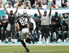 Oakland Raiders wide receiver Jordy Nelson (82) runs for yardage during the first half of an NFL football game against the Miami Dolphins, Sunday, Sept. 23, 2018 in Miami Gardens, Fla. (AP Photo/Brynn Anderson)