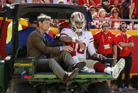 KANSAS CITY, MO - SEPTEMBER 23: Jimmy Garoppolo #10 of the San Francisco 49ers is carted off the field after an injury during the fourth quarter of the game against the Kansas City Chiefs at Arrowhead Stadium on September 23rd, 2018 in Kansas City, Missouri. (Photo by David Eulitt/Getty Images)