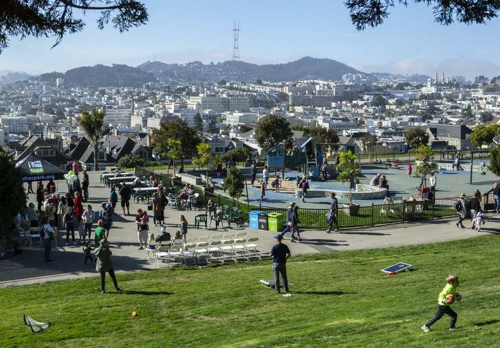 Visitors enjoy Alta Plaza Park in Pacific Heights during a reopening celebration after it was rehabilitated.