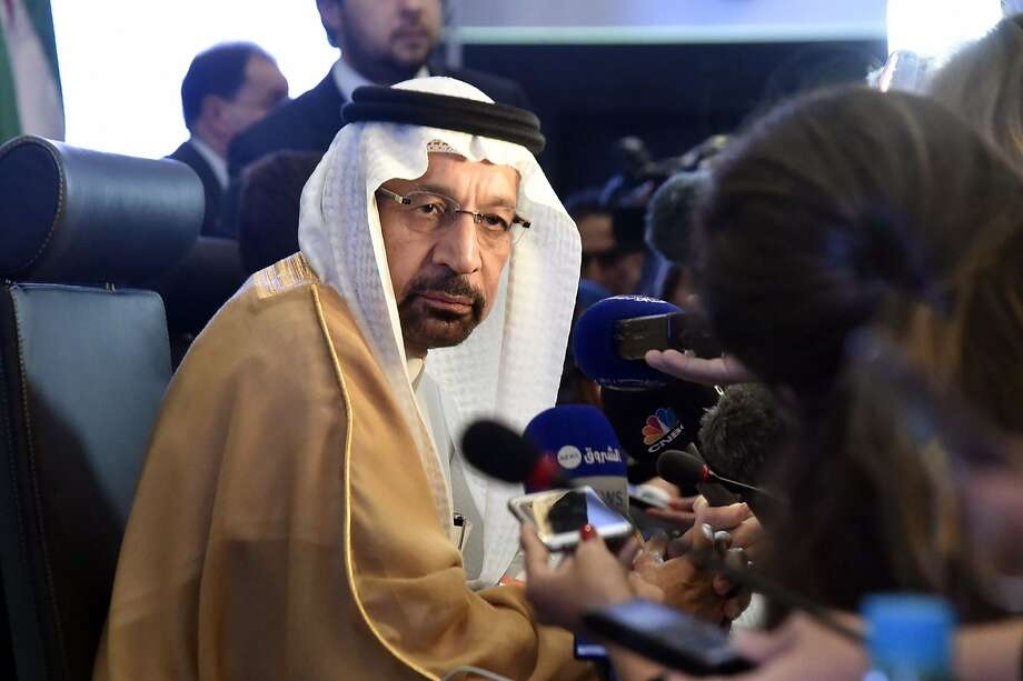 Khalid Al-Falih, Saudi Energy and Oil Minister and Chairman of OPEC's Joint Ministerial Monitoring Committee (JMMC), speaks to journalists during the 10th JMMC meeting in Algiers on September 23, 2018. (Photo by Ryad KRAMDI / AFP)RYAD KRAMDI/AFP/Getty Images Photo: RYAD KRAMDI, AFP/Getty Images