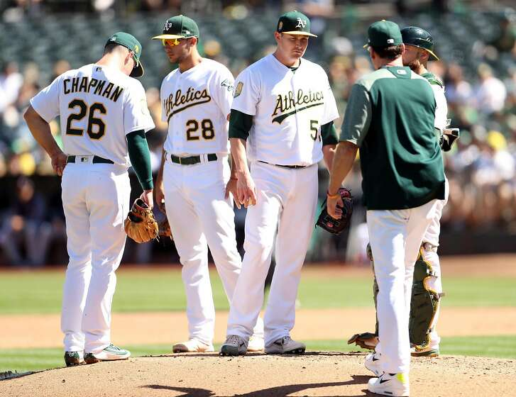 Oakland Athletics' starting pitcher Trevor Cahill is removed by manager Bob Melvin during Minnesota Twins' 3-run 4th inning during MLB game at Oakland Coliseum in Oakland, Calif. on Sunday, September 23, 2018.