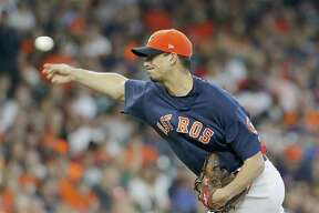 Charlie Morton (50) of the Houston Astros pitches against the Los Angeles Angels at Minute Maid Park on September 23, 2018 in Houston, Texas.