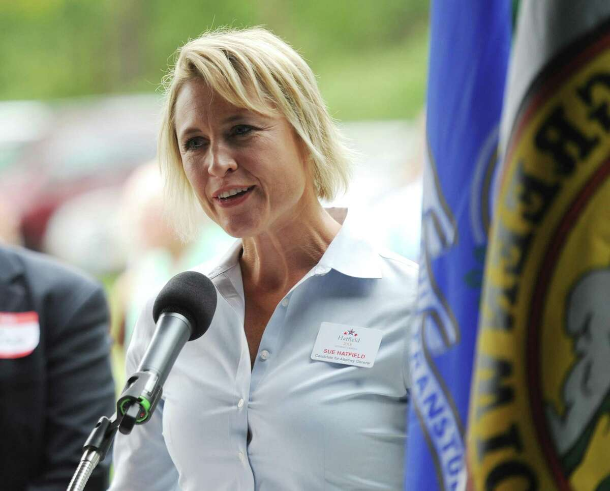 Republican Attorney General candidate Sue Hatfield speaks at the 87th annual Cos Cob Republican Clambake at Greenwich Point Park in Old Greenwich, Conn. Sunday, Sept. 23, 2018.