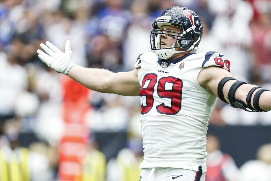 Houston Texans defensive end J.J. Watt (99) celebrates after forcing a fumble by New York Giants quarterback Eli Manning (10) during the first half as the Houston Texans take on the New York Giants at NRG Stadium Sunday Sept. 23, 2018 in Houston.