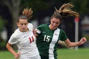 Niskayuna's Olivia Piraino (11) and Shenendehowa's Isabella Guarracino (15) battle for the ball during a Section II Class AA girls' high school soccer game in Niskayuna, N.Y., Tuesday, Sept. 5, 2017. (Hans Pennink / Special to the Times Union) ORG XMIT: HP110