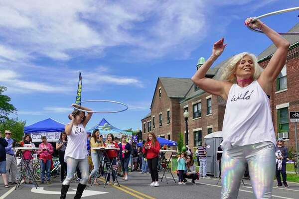 Members of The Holograms, from left to right, Sarah McNally, Jem Mapes and Jennie Lee perform at the annual Upper Madison Street Fair on Sunday, Sept. 23, 2018, in Albany, N.Y. (Paul Buckowski/Times Union)