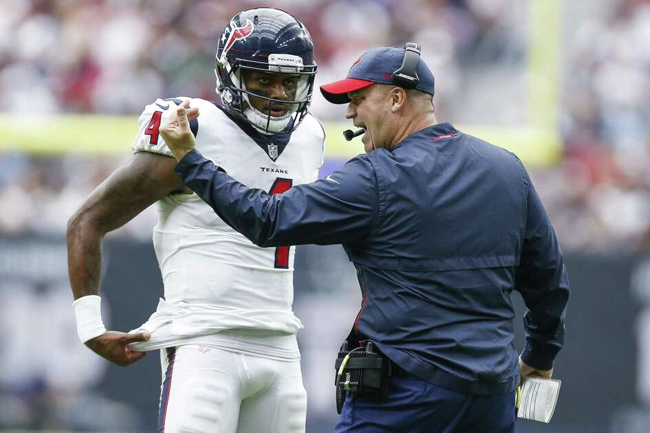 Coach Bill O'Brien, right, didn't open things up with QB Deshaun Watson and the offense until the Texans faced a 20-3 deficit in Sunday's loss to the Giants.