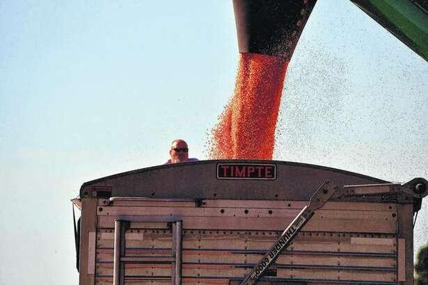 Corn is loaded into a truck at the Chris Devlin farm near Philadelphia to take to market. Harvest season is well under way across the region.