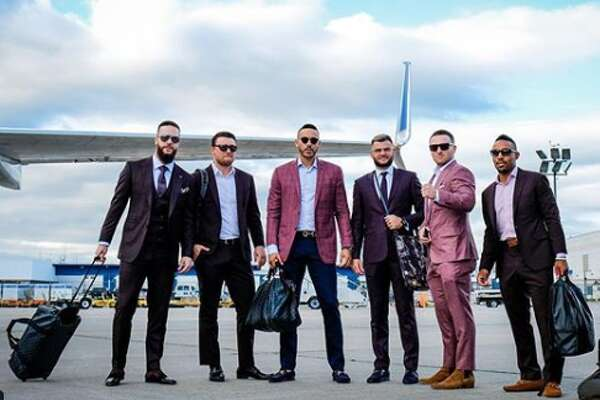 Astros players looked fit for the red carpet as they left for a season-ending road trip on Sunday. They play the Toronto Blue Jays today in the first of a seven-game road trip.