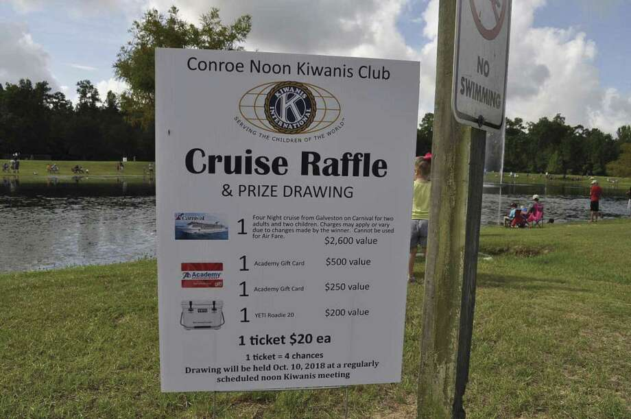 Each ticket is $20 with the drawing held Oct. 10 at the Noon Kiwanis Meeting. 1st Prize- 4 Night Cruise from Galveston with Carnival for 2 adults and 2 children. ($2,600 value), 2nd Prize- Academy Gift card ($500 value), 3rd Prize Yettie Roadie 20 ($200 value).