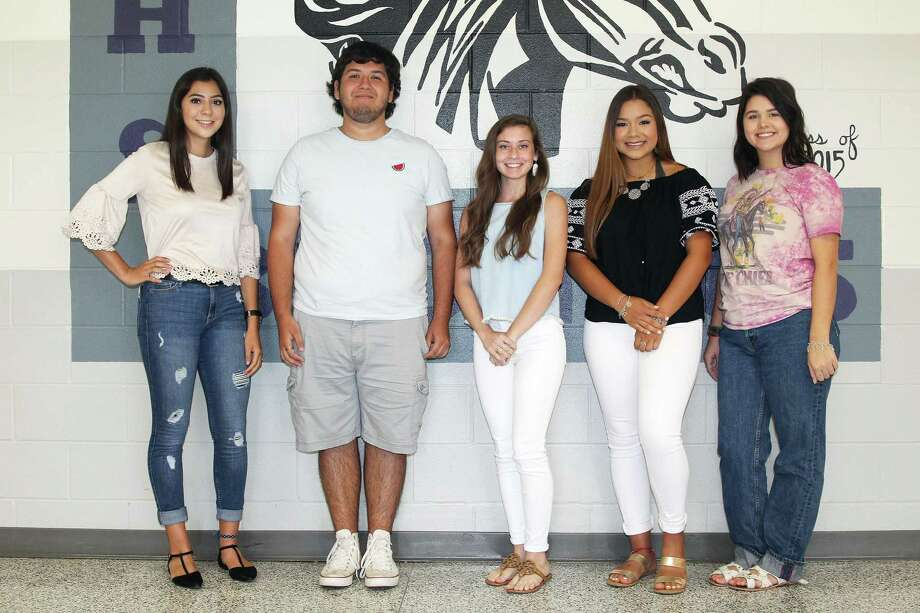 The Beaus and Sweethearts for the Dayton High School 2018 Homecoming Court include Band Beau and Sweetheart Alberto Hernandez and Liliana Torres, Cheer Sweetheart Jordan Cantrell, Dazzler Sweetheart Alyssa Ottaviani, Football Sweetheart Marian Avalos, and FFA Sweetheart Mikayla Hajdik. Photo: Submitted