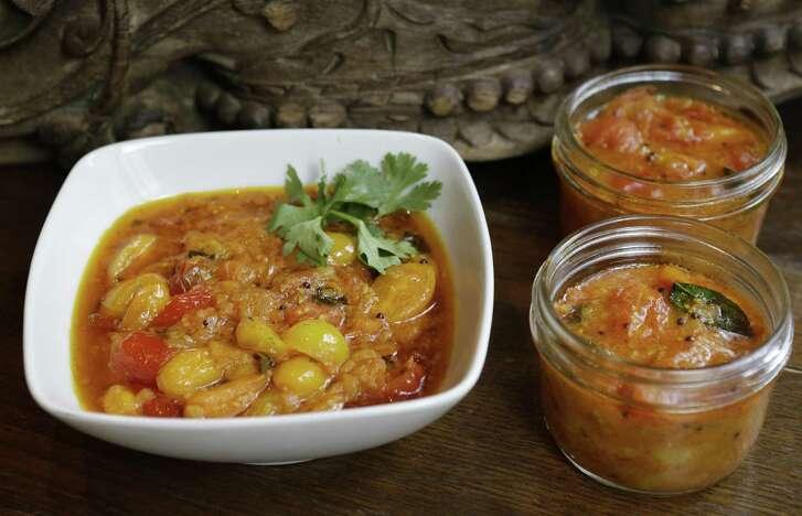 Pondicheri chef-owner Anita Jaisinghani offers Tomato Sabzi.