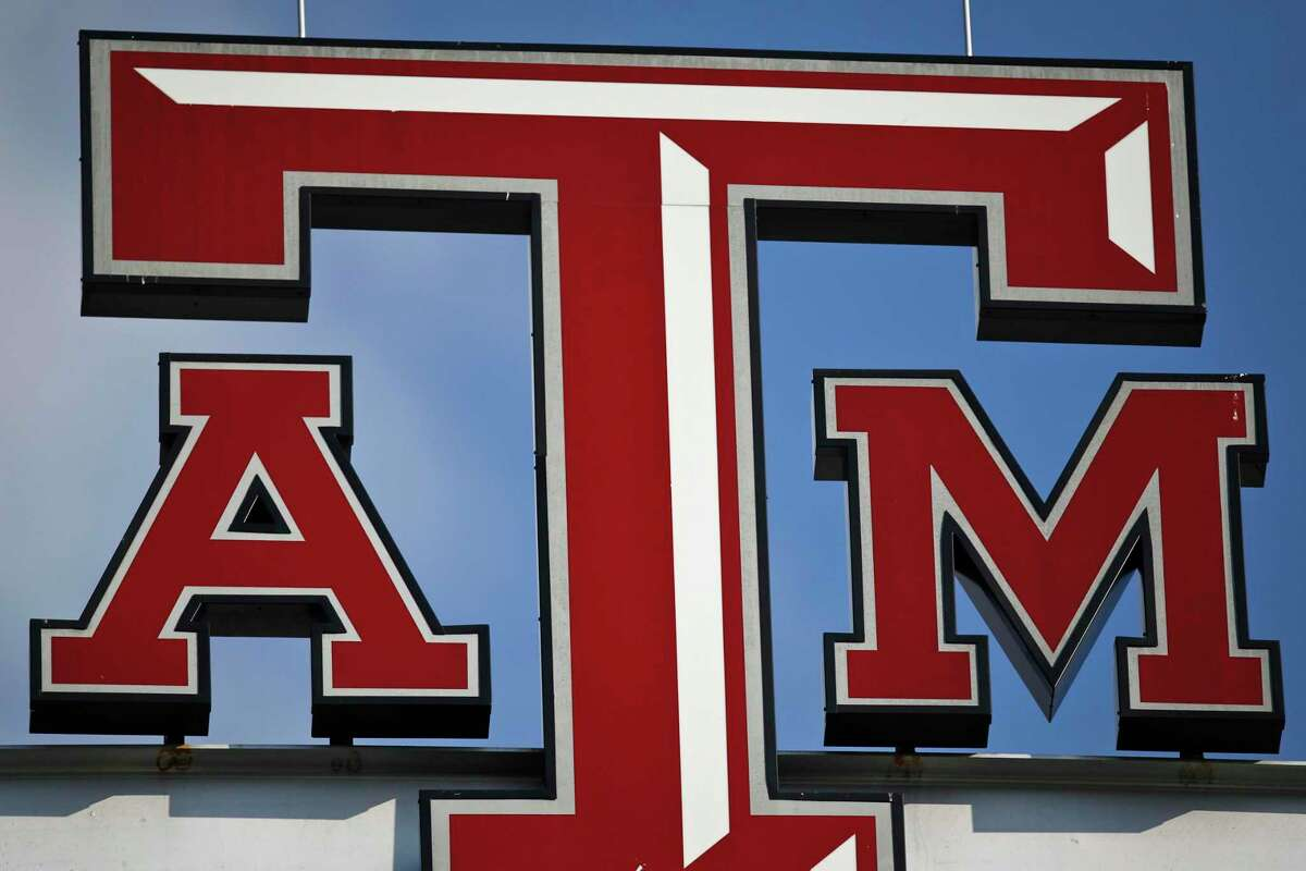 The Texas A&M logo in College Station.