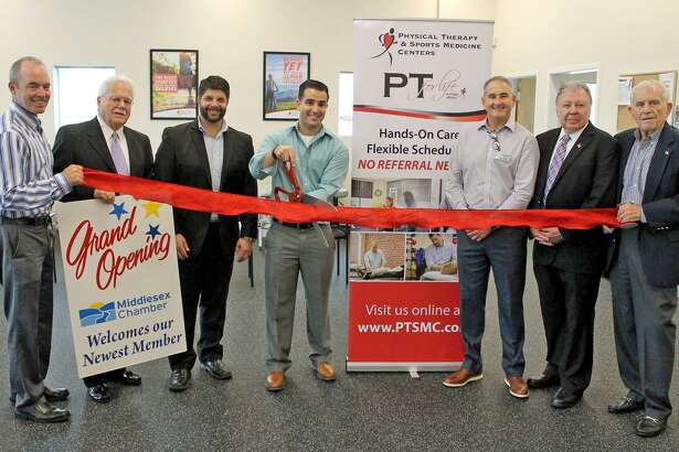 A grand opening was held for Physical Therapy & Sports Medicine Centers, 134 Main Street Extension, Middletown Sept. 18. From left are Physical Therapy & Sports Medicine Centers President Alan Balavender, Middletown Small Business Counselor Paul Dodge, Mayor Dan Drew, Physical Therapy Partner and Director Michael Antunes, Physical Therapy Vice President of Business Development Michael Durand, Chamber Chairman Jay Polke and President Larry McHugh.