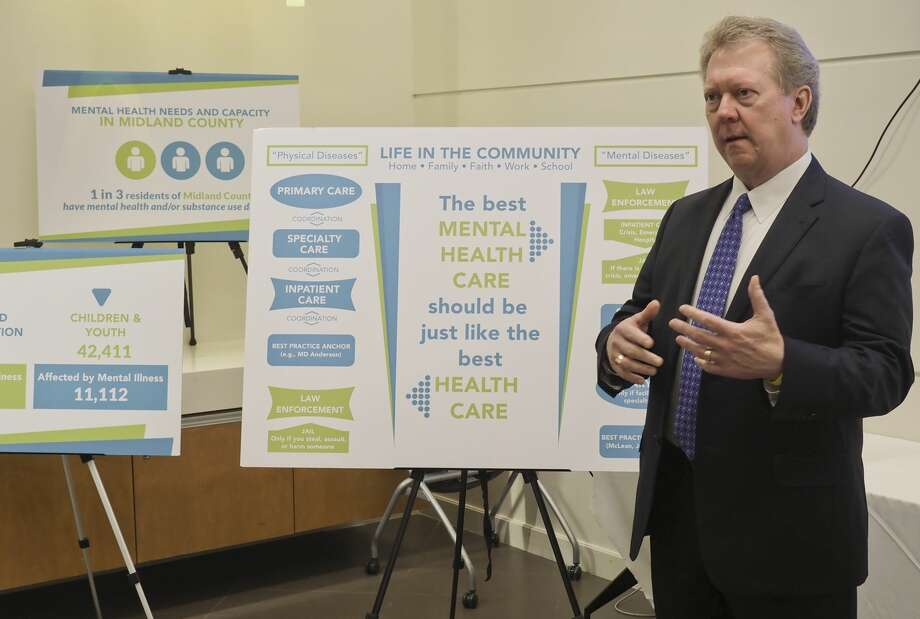 Russell Meyers, Midland Memorial Hospital president and CEO, speaks 09/24/18 during a press conference announcing the expansion of the 68-NURSE call line.68Nurse recently has been instrumental in helping provide information on resources available for mental health services to those experiencing anxiety, depression or suicidal thoughts or ideations. Photo: Tim Fischer/Midland Reporter-Telegram