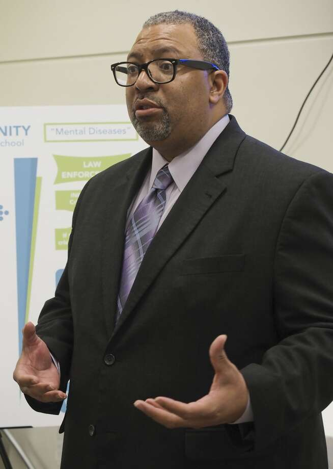 Pervis Evans, executive director with Educate Midland, speaks 09/24/18 during a press conference announcing the expansion of the 68-NURSE call line to include mental heath concerns and the Okay to Say campaign to raise awareness of mental health options in the community. Tim Fischer/Reporter-Telegram Photo: Tim Fischer/Midland Reporter-Telegram