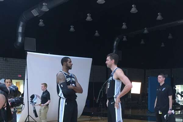 La Marcus Aldridge and Pau Gasol at the Spurs media day. Players and coaches are speaking to reporters at the Spurs' media day on Monday, Sept. 24, 2018.